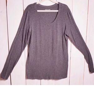 Eileen Fisher Basic Grey Long Sleeve Top Small